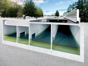 Regenwateropslag onder gebouwen, bijvoorbeeld: parkeergarages